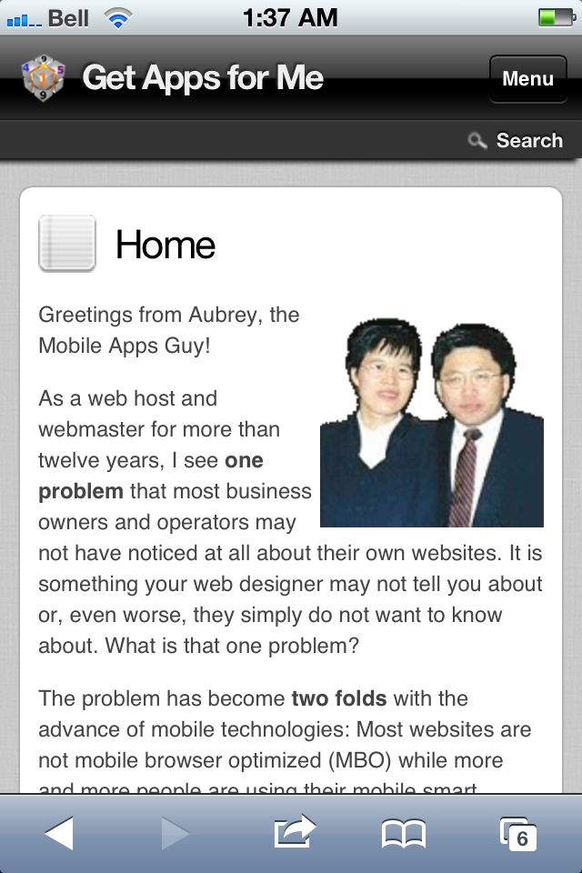 Screen shot of this site homepage served on mobile phone browsers